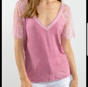 POL Blush lace sleeve top